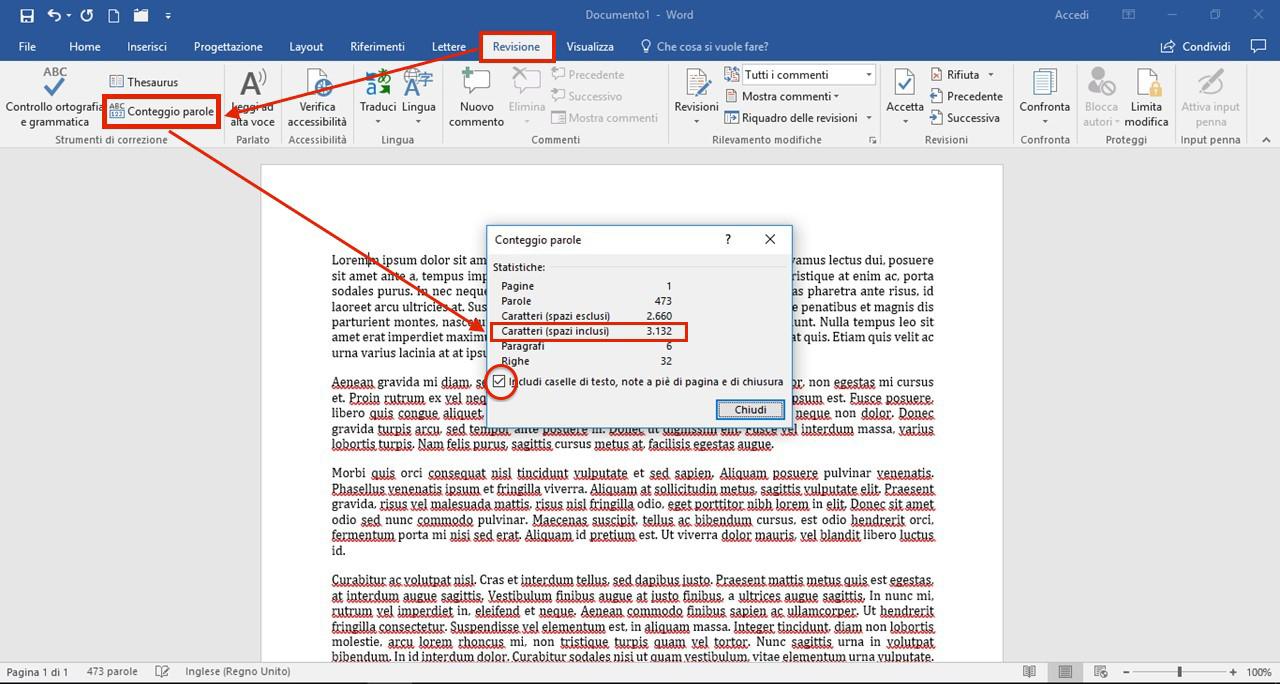 Conteggio caratteri con Microsoft Word